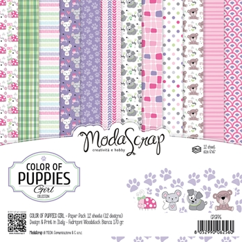 Elizabeth Craft Designs COLOR OF PUPPIES GIRL ModaScrap 6x6 Paper CPGPP6