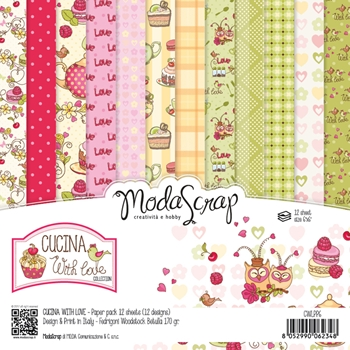 Elizabeth Craft Designs CUCINA WITH LOVE ModaScrap 6x6 Paper CWLPP6