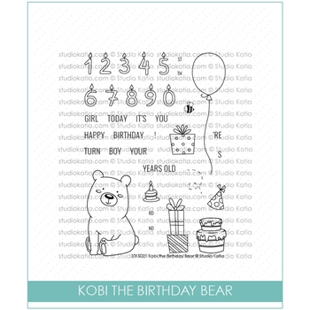 Studio Katia KOBI THE BIRTHDAY BEAR Clear Stamps STKS022