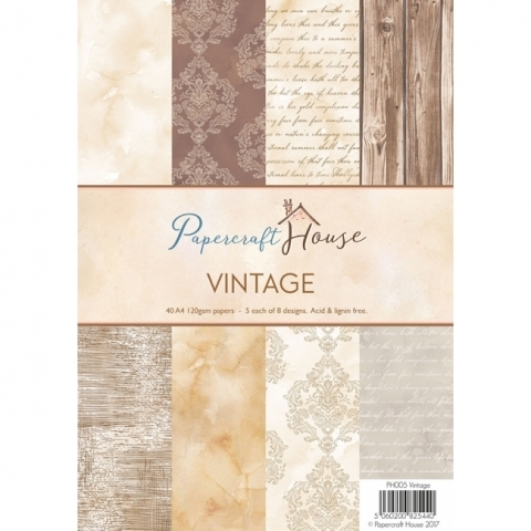 Wild Rose Studio, Papercraft House A4 Vintage Paper Pack