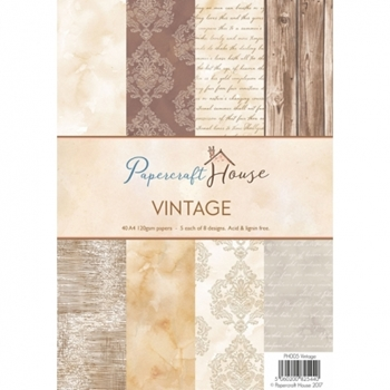 Papercraft House VINTAGE A4 Paper Pack PH005