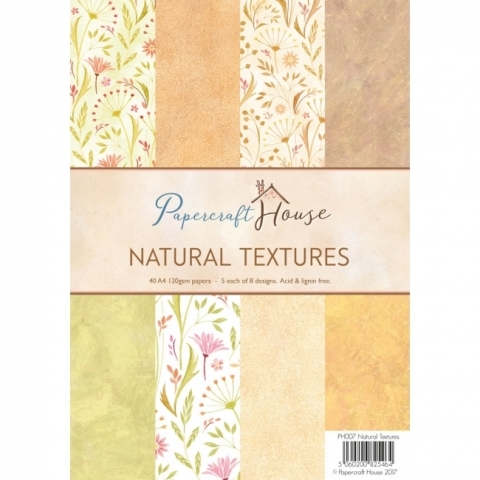 Wild Rose Studio, Papercrafts House, Natural Textures A4 Paper Pack
