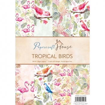 Papercraft House TROPICAL BIRDS A4 Paper Pack PH008