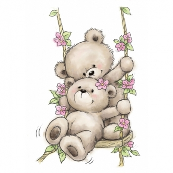Wild Rose Studio BEARS ON SWING Clear Stamp Set CL504*