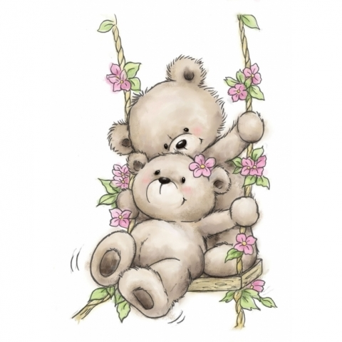 Wild Rose Studio BEARS ON SWING Clear Stamp Set CL504 zoom image