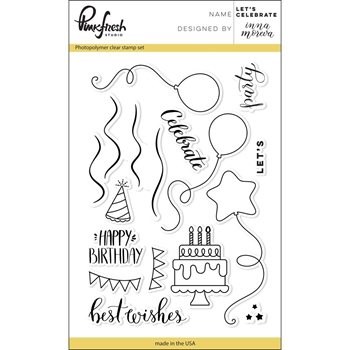 Pinkfresh Studio LET'S CELEBRATE Clear Stamp Set PFCS2317