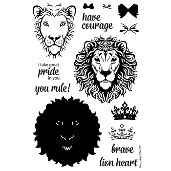 Hero Arts Color Layering BRAVE LION Clear Stamp Set CM177