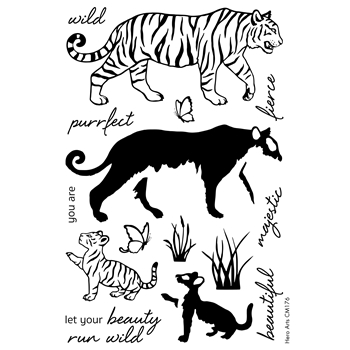Hero Arts Color Layering BENGAL TIGERS Clear Stamp Set CM176