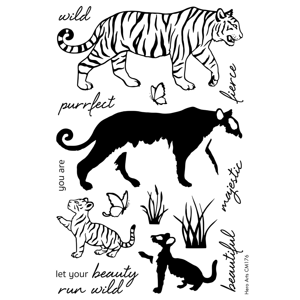 Hero Arts Color Layering BENGAL TIGERS Clear Stamp Set CM176 zoom image