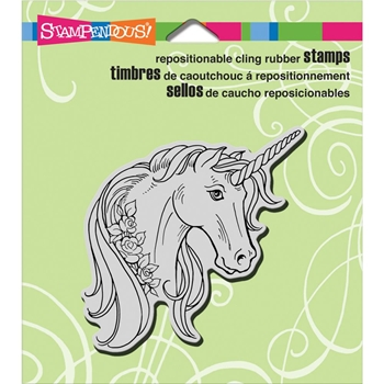 Stampendous Cling Stamp UNICORN ROSE Rubber UM CRQ231