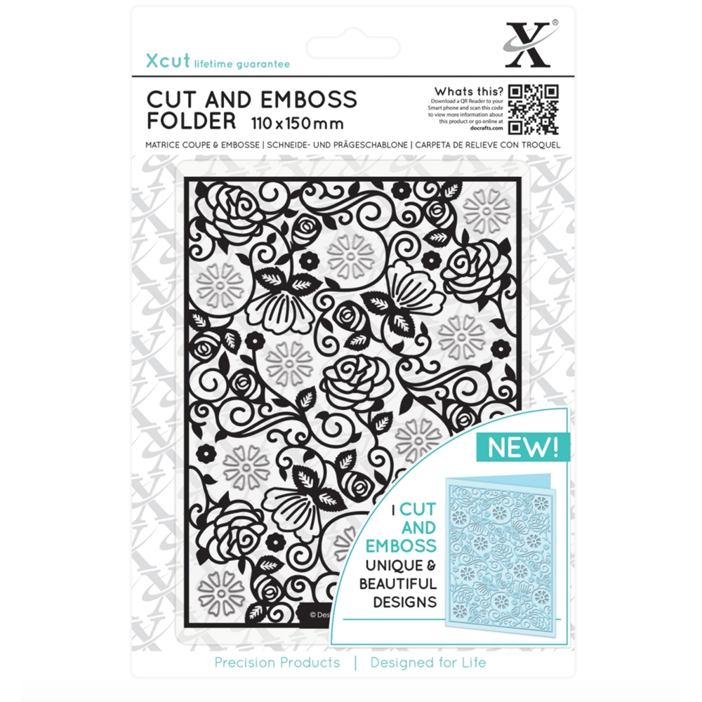 DoCrafts FLORAL PATTERN XCut Cut & Emboss Folder XC503806 zoom image