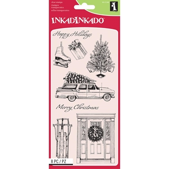 Inkadinkado HOME FOR CHRISTMAS Clear Stamp Set 60-31349