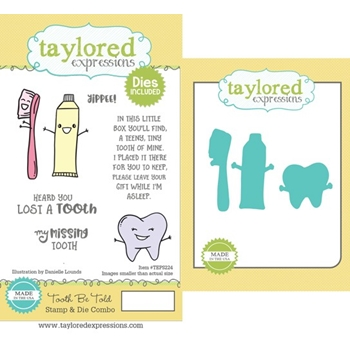 Taylored Expressions TOOTH BE TOLD Cling Stamp and Die Combo TEPS224