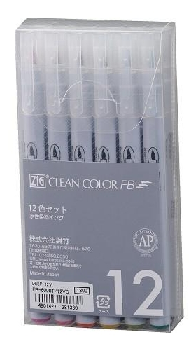 Zig Clean Color Felt Brush Pen Set DEEP FB6000T12VD Preview Image