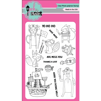 Pink and Main PIRATE CRITTERS Clear Stamp Set 023044