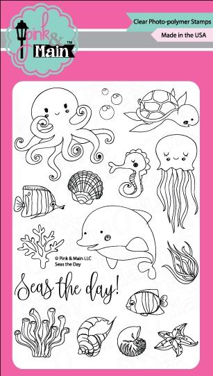 Pink and Main Seas the Day Stamps