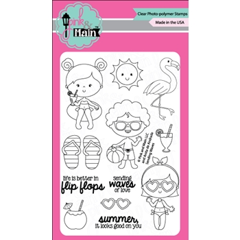 Pink and Main SENDING WAVES Clear Stamp Set 023082