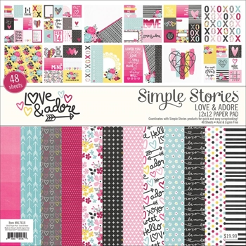 Simple Stories LOVE & ADORE 12 x 12 Paper Pad HL7618