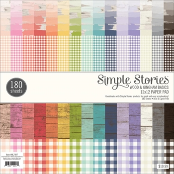 Simple Stories WOOD & GINGHAM 12 x 12 Paper Pad HL7897