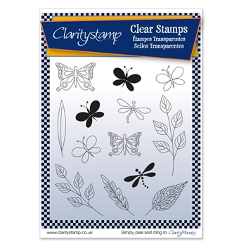 Claritystamp TINAS BUTTERFLIES AND DRAGONFLIES Clear Stamps and Mask STAAN10514A5
