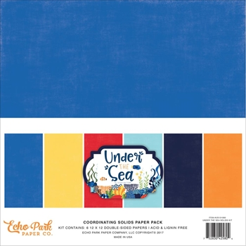 Echo Park UNDER THE SEA 12 x 12 Double Sided Solids Paper Pack US131060
