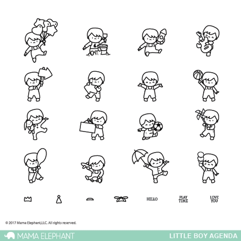 Mama Elephant Clear Stamp LITTLE BOY AGENDA  Preview Image