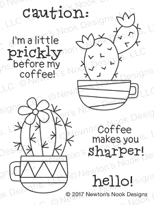 Newton's Nook Designs CUPPA CACTUS Clear Stamp Set 20170604