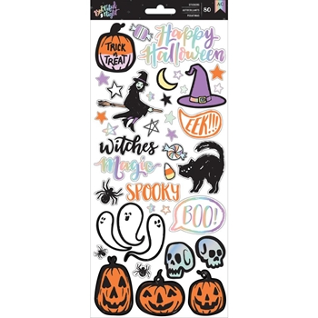 Pebbles Inc. ICONS AND PHRASES Foiled Stickers Bootiful Night 6x12 Inches 341077