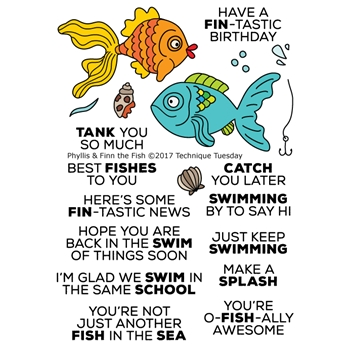 Technique Tuesday PHYLLIS AND FINN THE FISH Clear Stamps 02426
