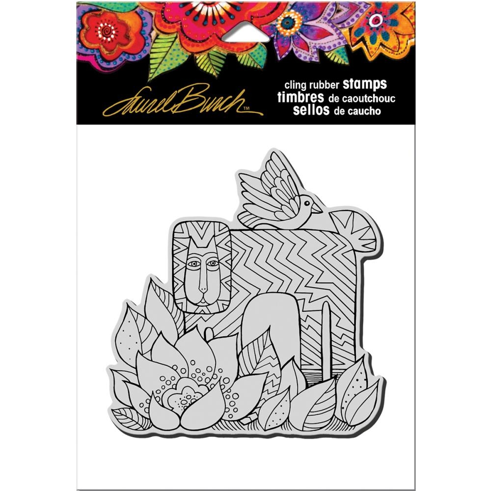 Stampendous Cling Stamp LION WITH BIRD Rubber UM Laurel Burch LBCW006 zoom image