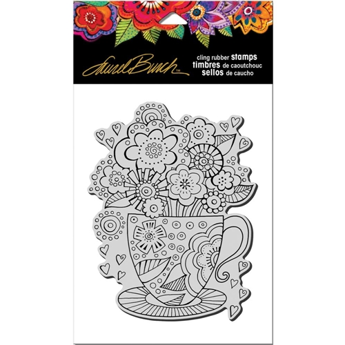 Stampendous Cling Stamp TEACUP Rubber UM Laurel Burch LBCR008* Preview Image