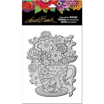 Stampendous Cling Stamp TEACUP Rubber UM Laurel Burch LBCR008*
