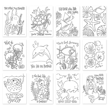 Simon Says Stamp Suzy's PUNDER THE SEA Watercolor Paintable Prints SZPTS17 One Of A Kind