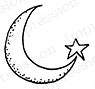 Impression Obsession Cling Stamp MOON STAR B19549