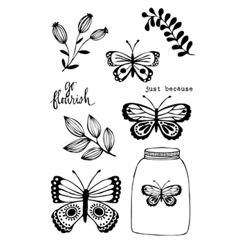 Flora and Fauna BUTTERFLY JAR Clear Stamp Set 20142