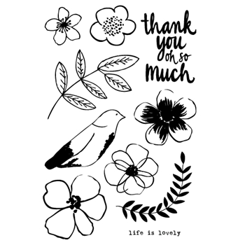 Flora and Fauna LIFE IS LOVELY FLOWER Clear Stamp Set 20145