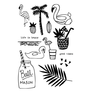 Flora and Fauna FLAMINGO POOL PARTY Clear Stamp Set 20140