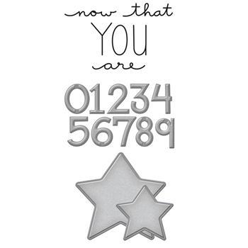 SDS-086 Spellbinders COUNT THE STARS Cling Stamp And Die Set