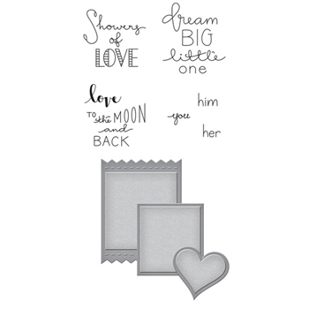 SDS-087 Spellbinders LABELS OF LOVE Cling Stamp and Die Set
