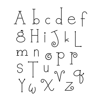 SBS-149 Spellbinders WHIMSY ALPHABET Cling Stamp Set