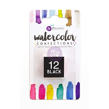 Prima Marketing 12 BLACK Watercolor Confections Pan Refill 596057