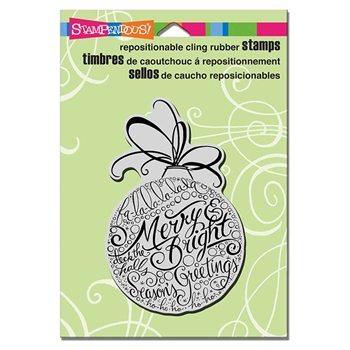 Stampendous Cling Stamp MERRY ORNAMENT Rubber UM CRP309