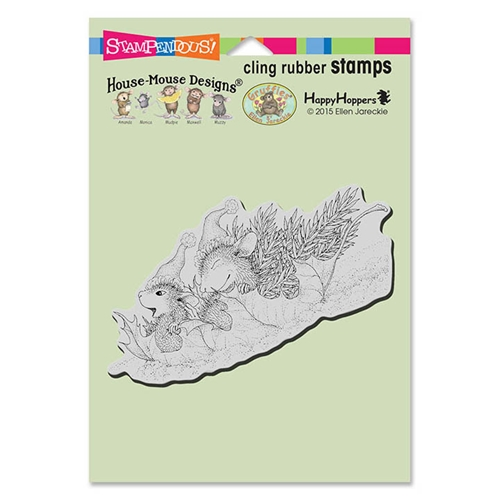 Stampendous, House Mouse Leaf Sledding Cling Stamp