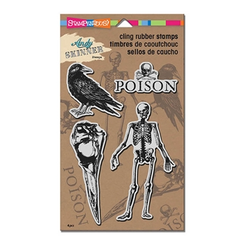 Stampendous Cling Stamp BIRDS AND BONES Rubber UM ASCRS10