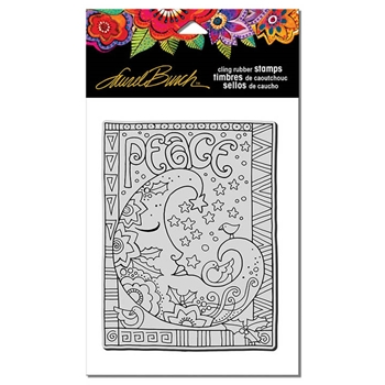 Stampendous Cling Stamp PEACE MOON Rubber UM Laurel Burch LBCR010