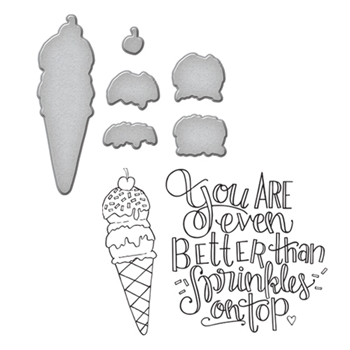 SDS-080 Spellbinders ICE CREAM CONE Cling Stamp and Die Set by Tammy Tutterow