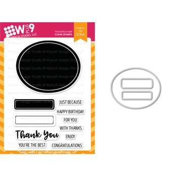 Wplus9 BASIC LABELS Clear Stamp And Die Combo WPLUS405