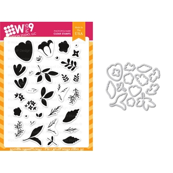 Wplus9 SOUTHERN SUMMER FLORALS 1 Clear Stamp And Die Combo WPLUS410