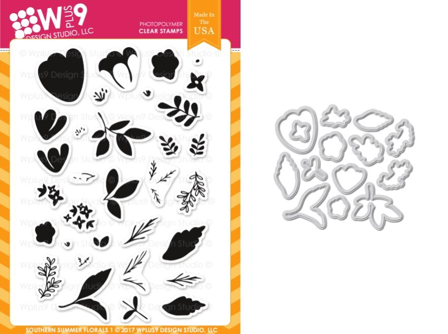 Wplus9 SOUTHERN SUMMER FLORALS 1 Clear Stamp And Die Combo WPLUS410 zoom image