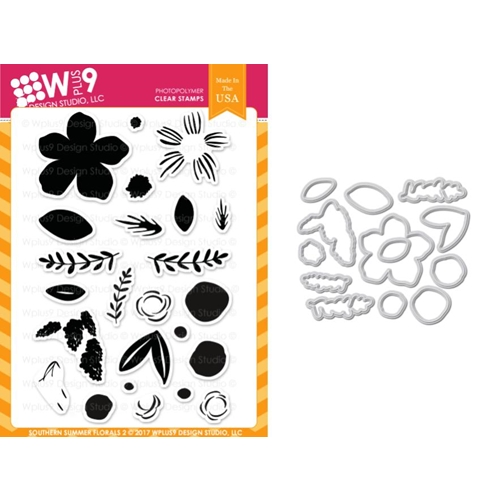 Wplus9 SOUTHERN SUMMER FLORALS 2 Clear Stamp And Die Combo WPLUS413 Preview Image